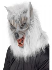 Wolf Full Over Head Mask - Silver Grey